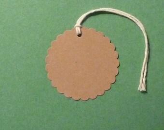 100 medium scalloped tags round tags blank tags gift tags kraft tags merchandise tag clothing hang tag price tag product tag seller supplies
