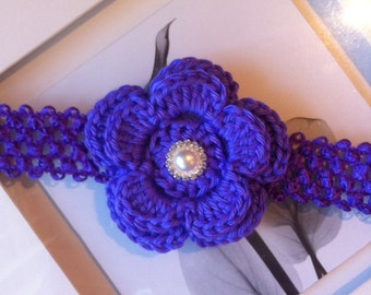 Baby crochet flower headband, elastic headband