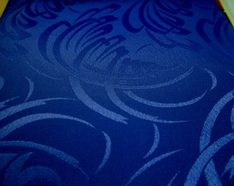 Dark Blue Patterned Polyester Fabric, 3 1/3 Yards, 45in. W, silky fabric, patterned swirls, dark blue