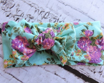 Bright Mint Floral Head Wrap