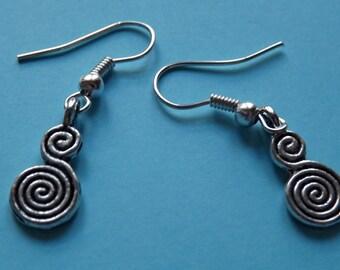 Celtic Earrings Double Spiral Renaissance