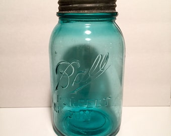 Vintage 1920's Blue Glass BALL Perfect Mason Jar with Screw Top Lid
