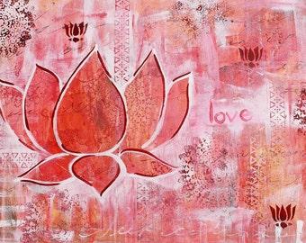 Love - PRINT, yoga, lotus art.
