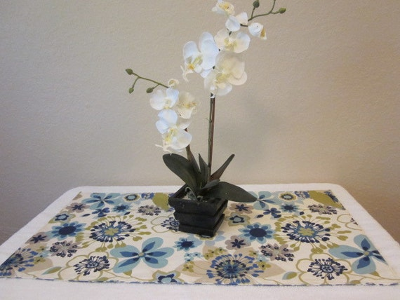 floral ikat reversible table runner