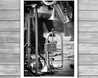 Jazz Trumpet, Jazz, Jazz Poster, Jazz Music, Music Print, Music Poster, Jazz Art, Black and White Photography, Fine Art Print, Music Photo