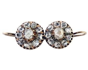 Antique Victorian Russian Earrings Rose Cut Diamonds 14k Gold (#5428)
