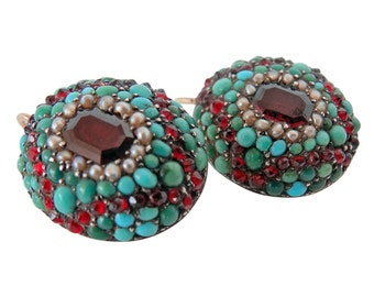 Antique Late Victorian Cluster Earrings Garnets Turquoise Pearls (#5301)