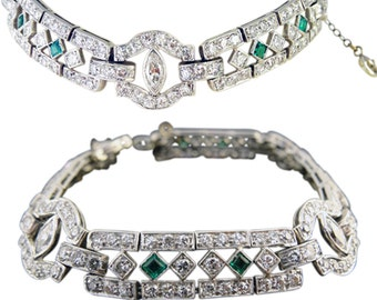 Antique Art Deco Bracelet Diamonds Platinum Emeralds (#5322)