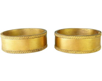 Antique Victorian Pair Gold-filled Bracelet Bangles in Original Fitted Box (#5324)