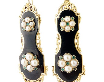 Antique French Earrings Charles X Victorian Gold Pearls Emeralds (#5336)