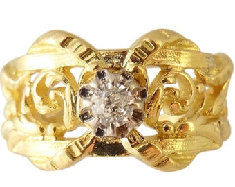 Antique Art Nouveau Ring French Man / Woman Gold Diamond Scrolls Openwork (#5351)