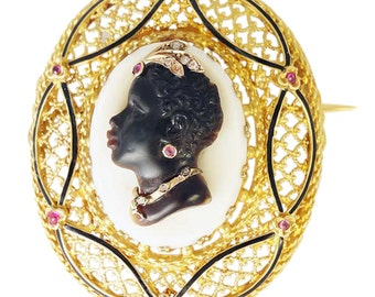 Antique French Blackamoor Carved Cameo Habille Brooch Gold Diamond Ruby (#5160)