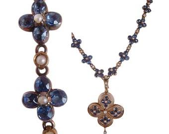 Antique Edwardian Necklace Sapphire Pearls 15k Gold (#4203)