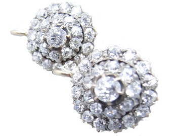 Antique Edwardian Earrings Gold 2.50 ct Diamonds Signed Angelo Martins (#5773)