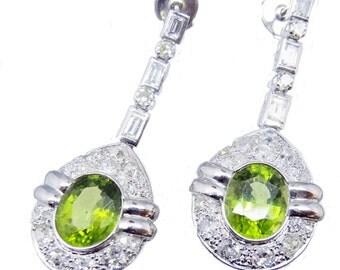 Vintage Pendant Earrings Platinum Peridot Diamond Ear Pendants (#5776)