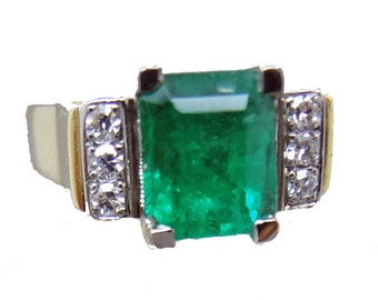 Antique Vintage Art Deco Ring Emerald Diamonds 18k Yellow Gold Platinum (#5803)