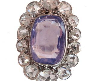 Antique Art Deco Ring Natural Color Change Sapphire Diamonds Platinum (#5830)