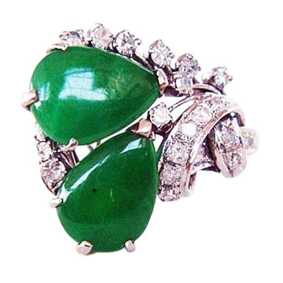 antique deco platinum jade ring 1920 s
