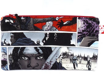 The Walking Dead Michonne Makeup Bag, TWD Graphic Novel Multi Purpose Zippered Pouch Bag Pencil Case  Handmade in the UK