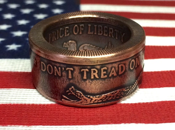 "Copper ""Don't Tread on Me"" Coin Ring (free shipping)"