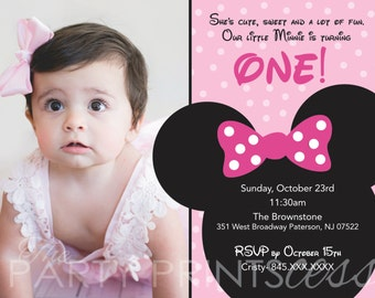 Minnie Mouse First Birthday Invite