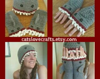 Shark cap and fingerless gloves - Hand crocheted
