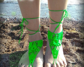 Green flower Barefoot Sandal, Lace Anklet, White Barefoot Sandal, Purple Lace Barefoot Sandal, Wedding, Barefoot Anklet, Foot Jewelry