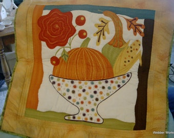 Fall Pumpkin and Gourd Quilted Wall Hanging