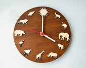 Safari Wood clock african animal Giraffe Elephant Lion Hippo clock African Home decor  idea for kids room children gift