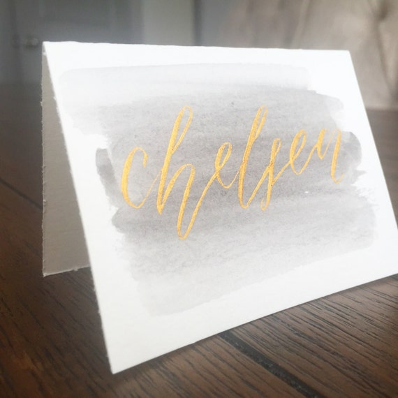 Watercolor Place Card Calligraphy Place Card By Everlettery