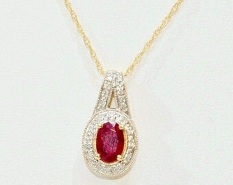 30% OFF July Birthstone - Vintage Genuine Ruby & Diamond Gold Lariat Pendant Necklace