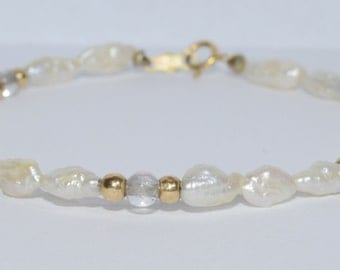 Vintage Baroque Pearl and 14k Gold Bracelet