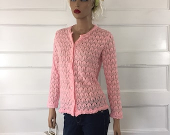 Vintage Pink Bombshell Cardigan - Retro Pin-Up Sweater - Rockabilly Sweater - Pink Lacey Cardigan Sweater