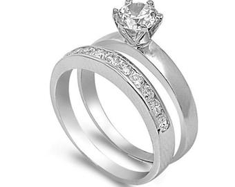 2 Piece Womenu0027s Wedding Ring Set 925 Sterling SilverCubic Zirconia  Engagement Ring Set