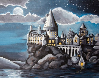 """Hogwarts at Night - 11""""x14"""" Stretched Canvas - Harry Potter Art"""