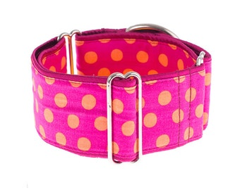 Martingale collar, martingale dog collar, collars, pink, orange,dots
