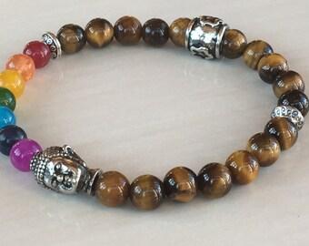 Tiger Eye Bracelet,Buddha Chakra Bracelet,Protector Jewelry,Bohemian Zen Bracelet Zen,Tiger Beads Bracelet,Seven Chakra,Unisex Bracelet,Yoga