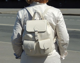 """White leather women's backpack """"Laura"""""""
