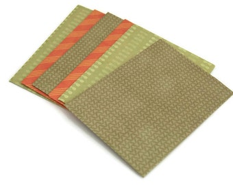 Set of 6 Green printed envelope - fall print envelope - 4x6 post card envelope - orange envelope