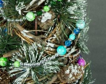 Multi Color Beaded Garland, Christmas Garland, Beaded Garland, Christmas Decorations