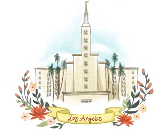 Los Angeles California LDS Temple, Latter Day Saint, Mormon, LA, wall decoration, wedding gift, relief society, decor
