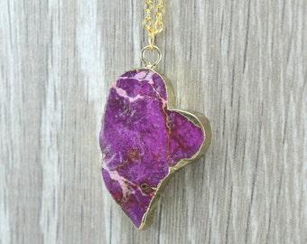 Purple Hearth Jasper Gemstone Necklace