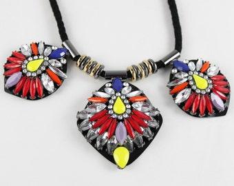 Multicoloured Necklace, Bright Jewels, Bib Necklace, Clear Diamantes, Black Cord Pendant, Statement Jewellery