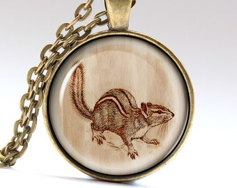 Squirrel Necklace, Animal jewelry, Wooden Pendant, Art Charm  LG1082