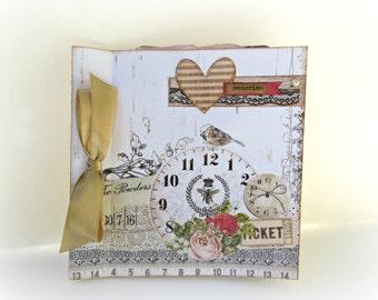 Memories photo mini album, Scrapbook album, Premade pages album, Square 6x6, Anniversary gift, Unique gift, Gift for her, Ready to ship