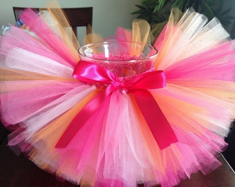 Pink and orange tutu, hot pink, light pink, orange tutu, sherbet tutu, birthday tutu, tutu, newborn, baby, toddler, girl, tutu