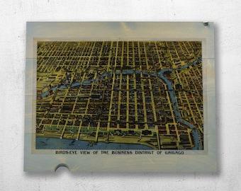 Chicago Map Art - Vintage Wood Map