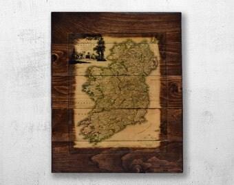 Historic Map of Ireland Wood Wall Art - 1797 Ireland Map