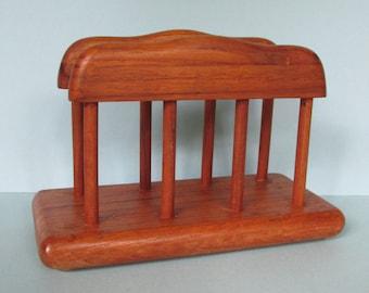 "Danish Modern Teak Wood Napkin Holder/ 1960's Goodwood Mid Century Modern Real Teak Stand/ Excellent Condition.  8"" L X 3.5"" W X 5.5"" H"