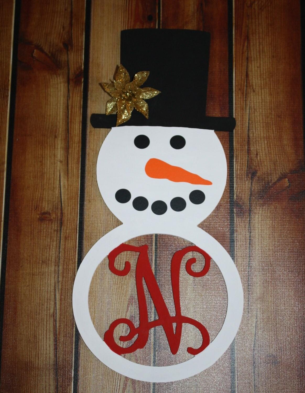 wood snowman initial door hangingwall dcor winter door hanging winter decor
